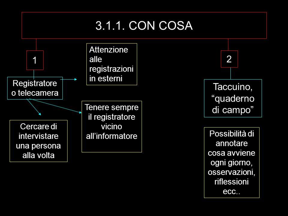 3.1.1. CON COSA 1 Registratore o telecamera Attenzione alle registrazioni in esterni Tenere sempre il registratore vicino allinformatore Cercare di in