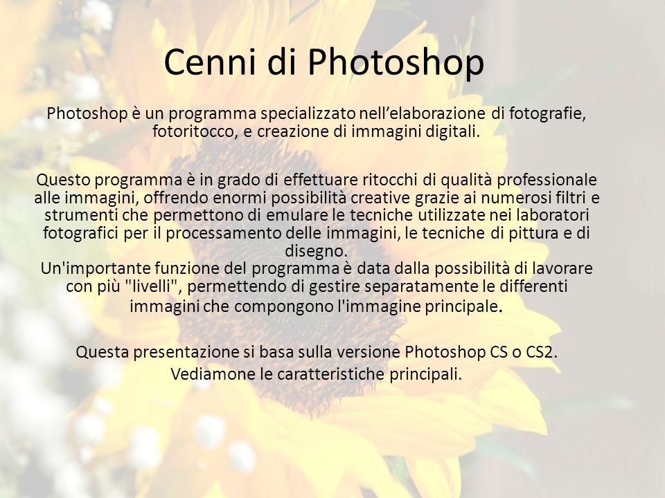 Cenni di Photoshop Photoshop è un programma specializzato nellelaborazione di fotografie, fotoritocco, e creazione di immagini digitali.