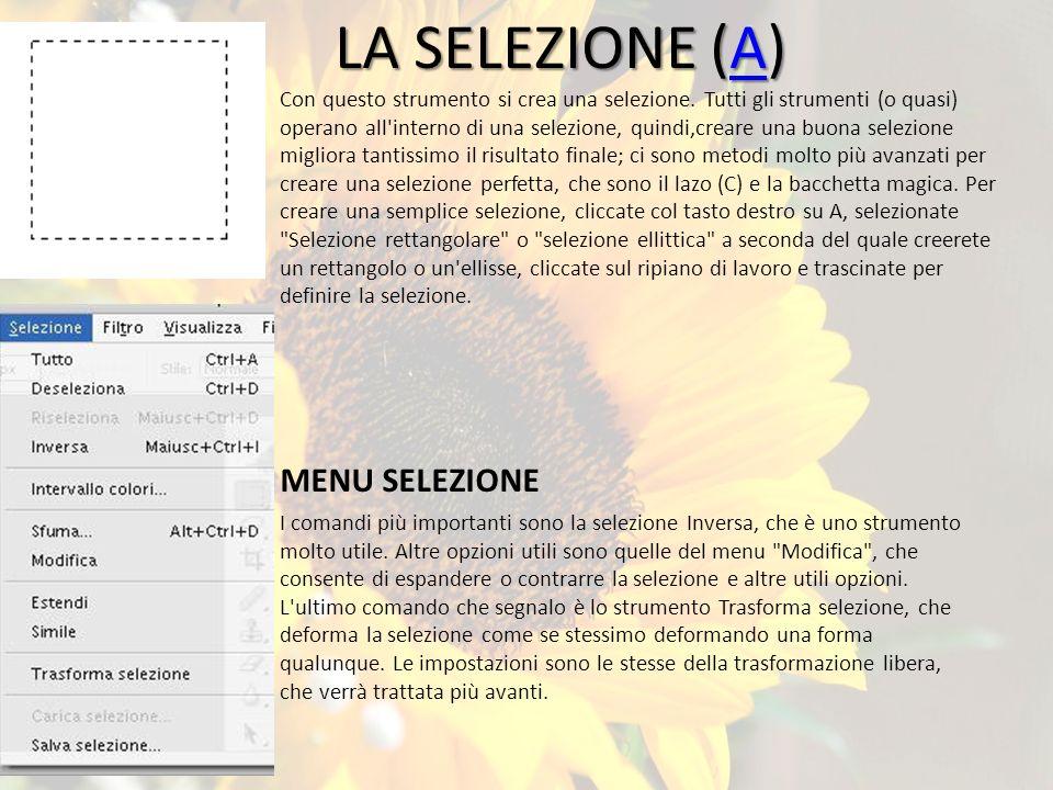 LA SELEZIONE (A) A Con questo strumento si crea una selezione.