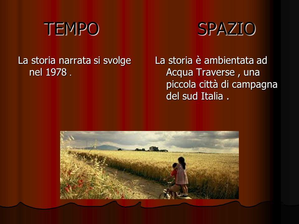 TEMPO SPAZIO La storia narrata si svolge nel 1978. La storia è ambientata ad Acqua Traverse, una piccola città di campagna del sud Italia.