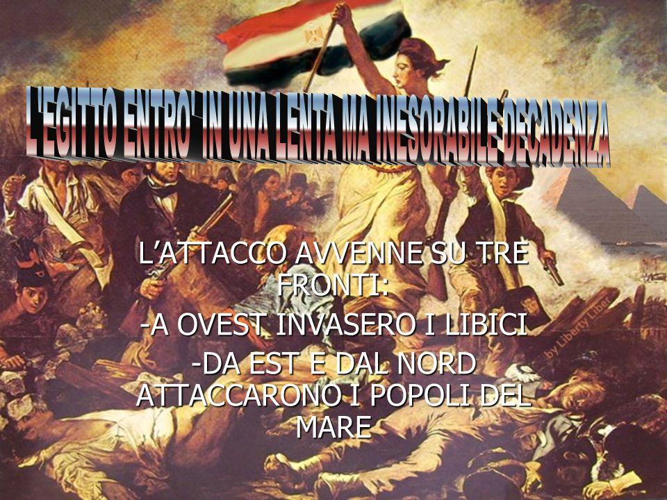 LATTACCO AVVENNE SU TRE FRONTI: -A OVEST INVASERO I LIBICI -DA EST E DAL NORD ATTACCARONO I POPOLI DEL MARE