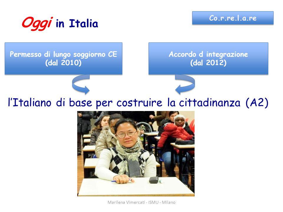 Marilena Vimercati - ISMU - Milano Co.r.re.l.a.re Oggi in Italia Permesso di lungo soggiorno CE (dal 2010) Permesso di lungo soggiorno CE (dal 2010) Accordo d integrazione (dal 2012) Accordo d integrazione (dal 2012) lItaliano di base per costruire la cittadinanza (A2)