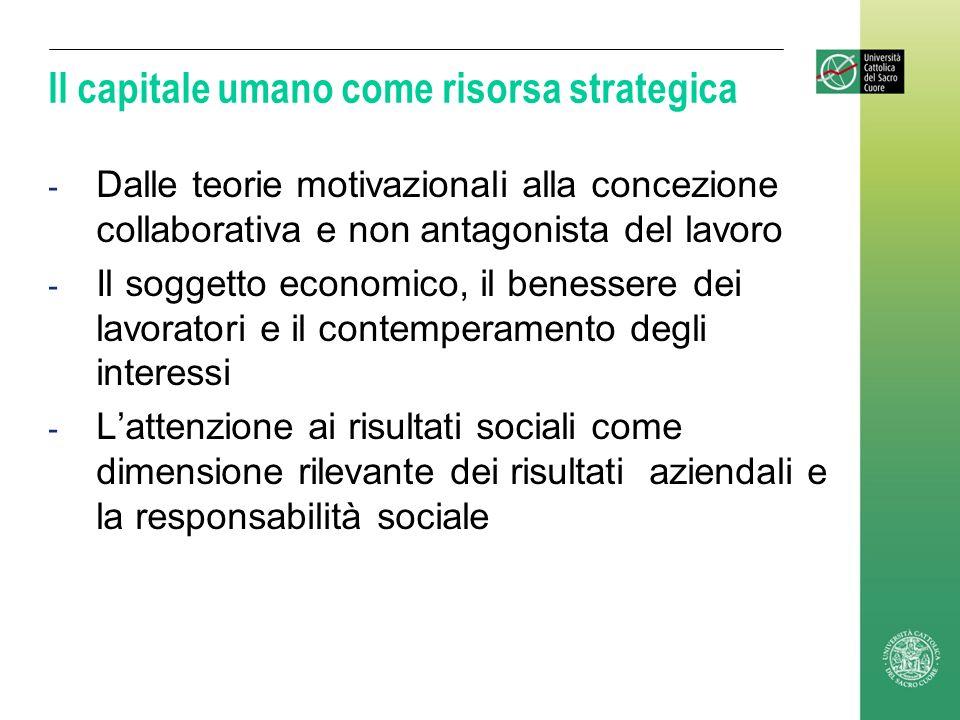 Il capitale umano come risorsa strategica - Dalle teorie motivazionali alla concezione collaborativa e non antagonista del lavoro - Il soggetto econom