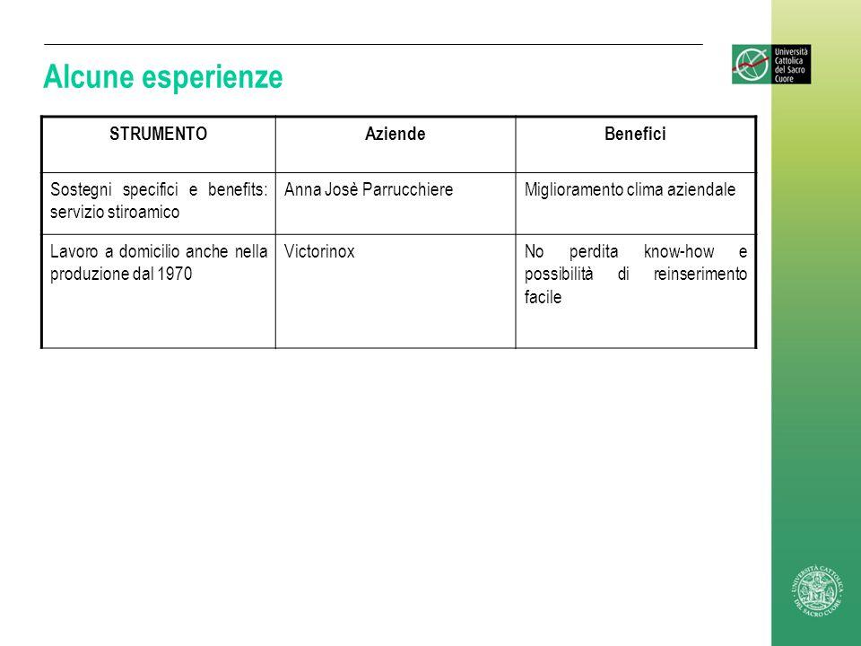 Alcune esperienze STRUMENTOAziendeBenefici Sostegni specifici e benefits: servizio stiroamico Anna Josè ParrucchiereMiglioramento clima aziendale Lavo