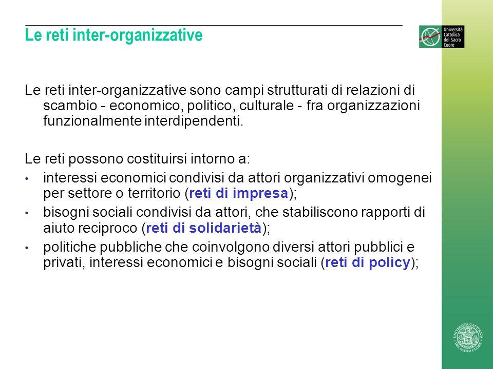 Le reti inter-organizzative Le reti inter-organizzative sono campi strutturati di relazioni di scambio - economico, politico, culturale - fra organizz