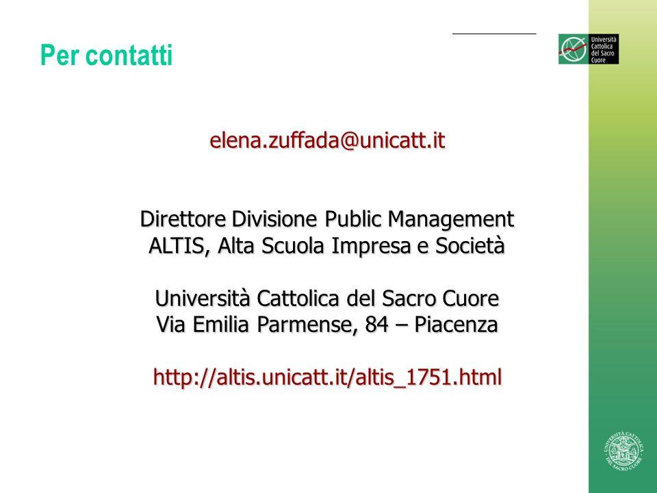 Per contatti elena.zuffada@unicatt.it Direttore Divisione Public Management ALTIS, Alta Scuola Impresa e Società Università Cattolica del Sacro Cuore