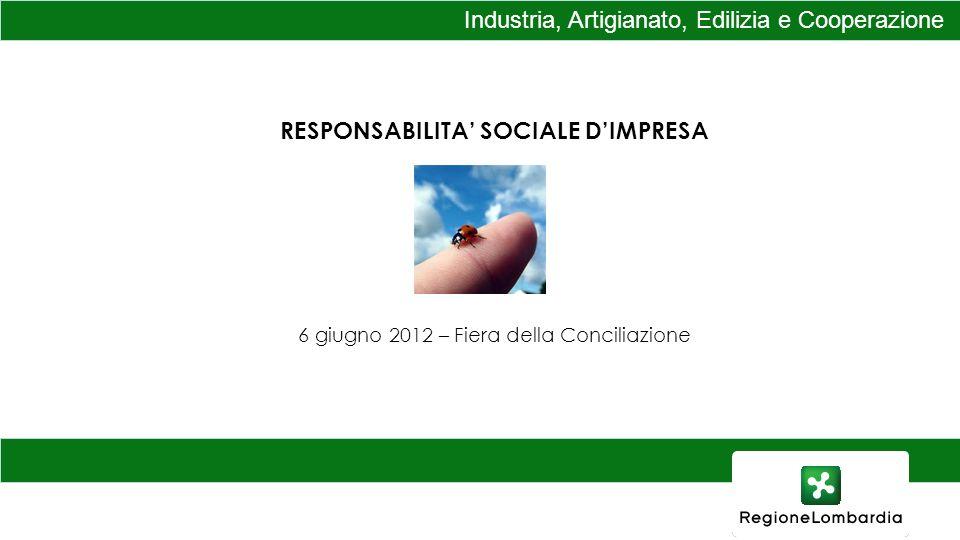 Industria, Artigianato, Edilizia e Cooperazione RESPONSABILITA SOCIALE DIMPRESA 6 giugno 2012 – Fiera della Conciliazione