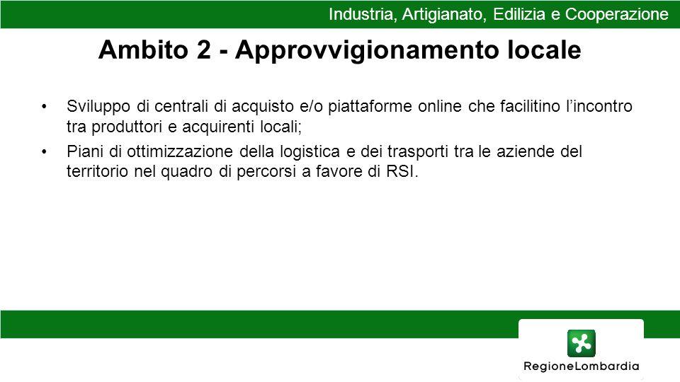 Ambito 2 - Approvvigionamento locale Sviluppo di centrali di acquisto e/o piattaforme online che facilitino lincontro tra produttori e acquirenti locali; Piani di ottimizzazione della logistica e dei trasporti tra le aziende del territorio nel quadro di percorsi a favore di RSI.