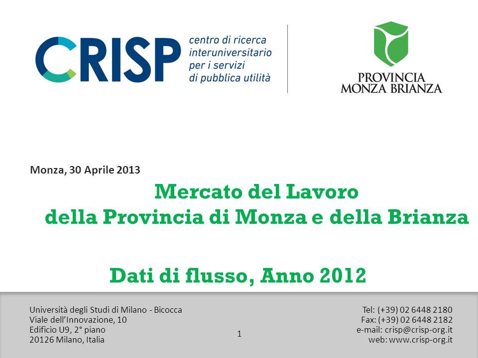 CRISP – Università degli Studi di Milano Bicocca Viale dellInnovazione 10 Edificio U9 – 20126, Milano Web: www.crisp-org.itwww.crisp-org.it E-mail: crisp@crisp-org.itcrisp@crisp-org.it Tel: (+39) 02 6448 2180 Fax: (+39) 02 6448 2182 22 Contatti