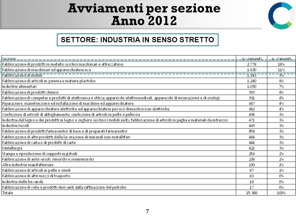 Avviamenti per settore e contratto- Anno 2012 8