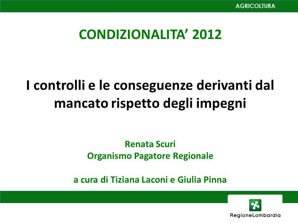 CONDIZIONALITA 2012 I controlli e le conseguenze derivanti dal mancato rispetto degli impegni Renata Scuri Organismo Pagatore Regionale a cura di Tizi