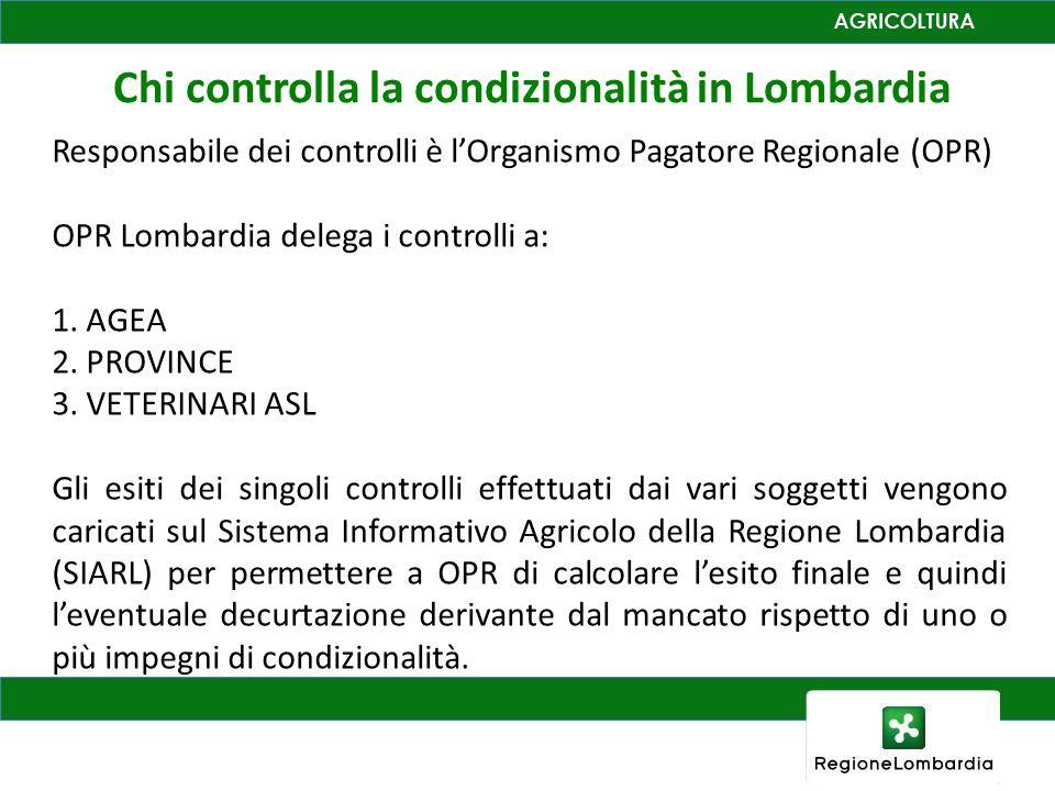 Chi controlla la condizionalità in Lombardia Responsabile dei controlli è lOrganismo Pagatore Regionale (OPR) OPR Lombardia delega i controlli a: 1. A