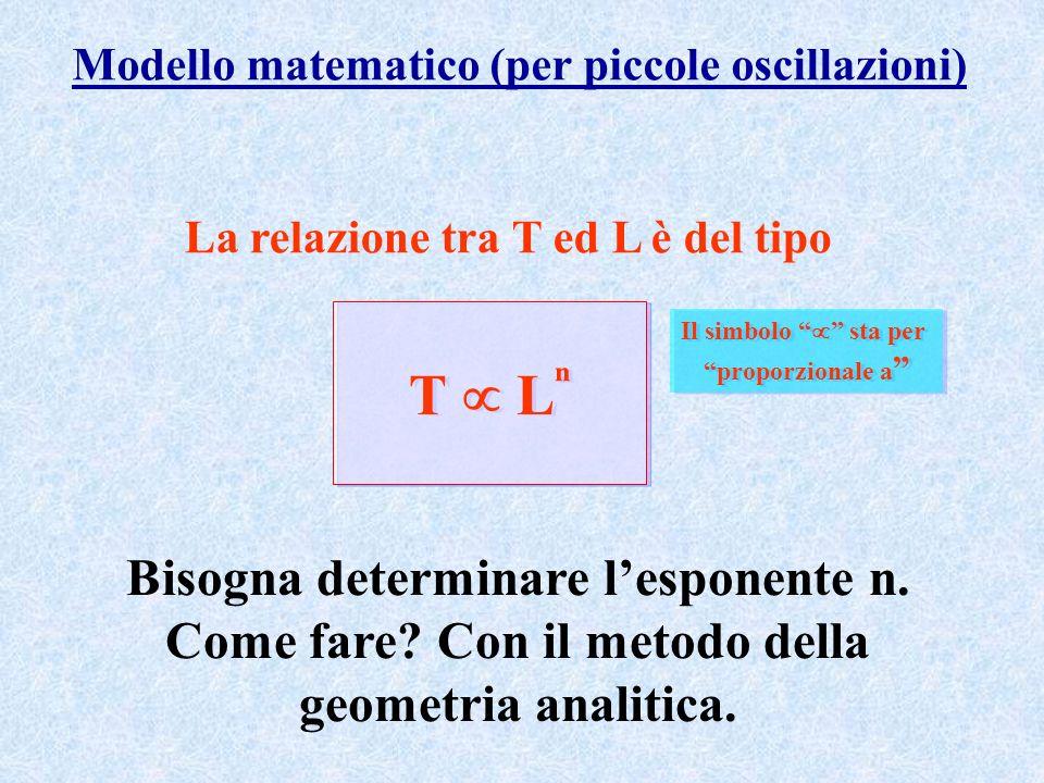 Modello matematico (per piccole oscillazioni) La relazione tra T ed L è del tipo T L Il simbolo sta per proporzionale a Il simbolo sta per proporziona