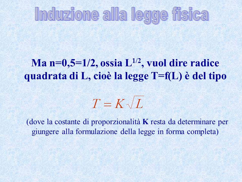 Ma n=0,5=1/2, ossia L 1/2, vuol dire radice quadrata di L, cioè la legge T=f(L) è del tipo (dove la costante di proporzionalità K resta da determinare
