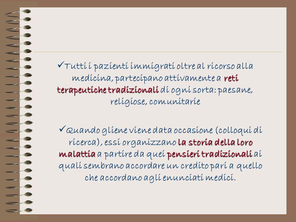 reti terapeutiche tradizionali Tutti i pazienti immigrati oltre al ricorso alla medicina, partecipano attivamente a reti terapeutiche tradizionali di