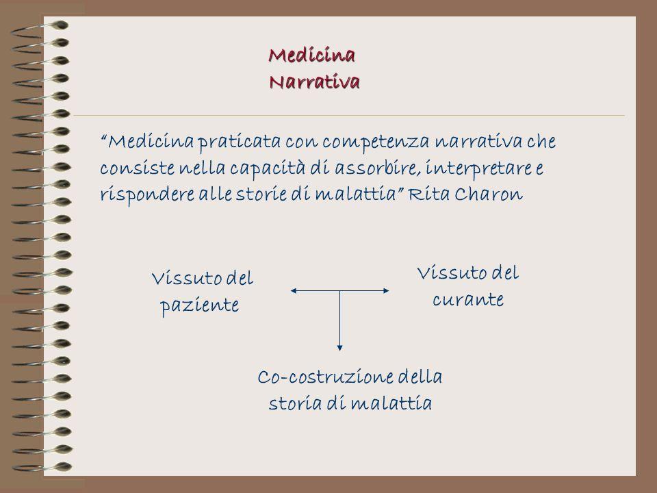 Medicina Narrativa Medicina praticata con competenza narrativa che consiste nella capacità di assorbire, interpretare e rispondere alle storie di mala