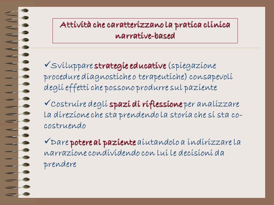 Attività che caratterizzano la pratica clinica narrative-based strategie educative Sviluppare strategie educative (spiegazione procedure diagnostiche
