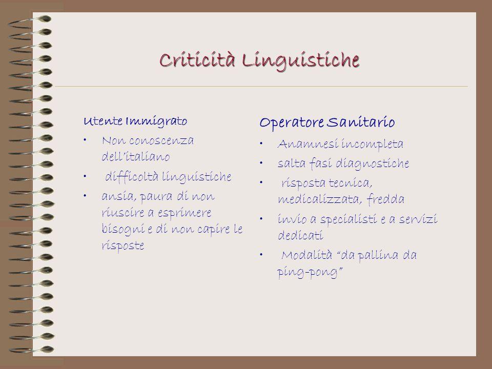 Criticità Linguistiche Utente Immigrato Non conoscenza dellitaliano difficoltà linguistiche ansia, paura di non riuscire a esprimere bisogni e di non
