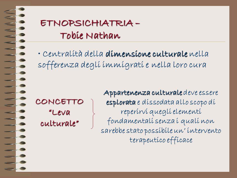 ETNOPSICHIATRIA – Tobie Nathan dimensione culturale Centralità della dimensione culturale nella sofferenza degli immigrati e nella loro cura CONCETTO