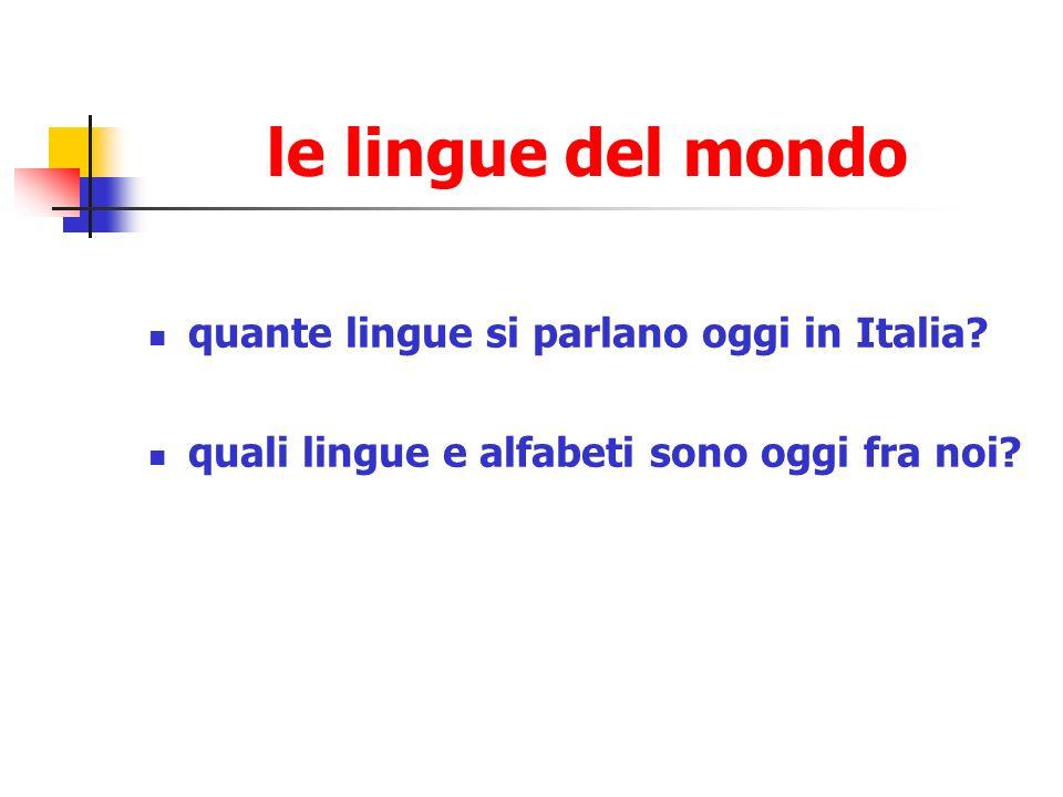 le lingue del mondo quante lingue si parlano oggi in Italia? quali lingue e alfabeti sono oggi fra noi?