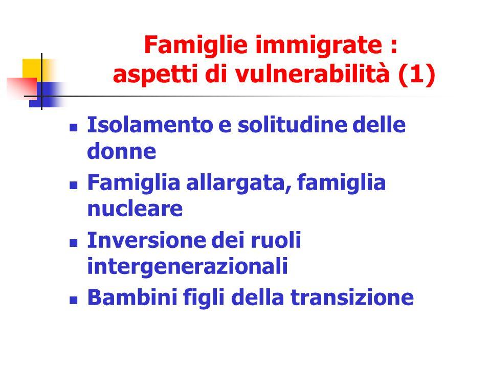 Famiglie immigrate : aspetti di vulnerabilità (1) Isolamento e solitudine delle donne Famiglia allargata, famiglia nucleare Inversione dei ruoli intergenerazionali Bambini figli della transizione