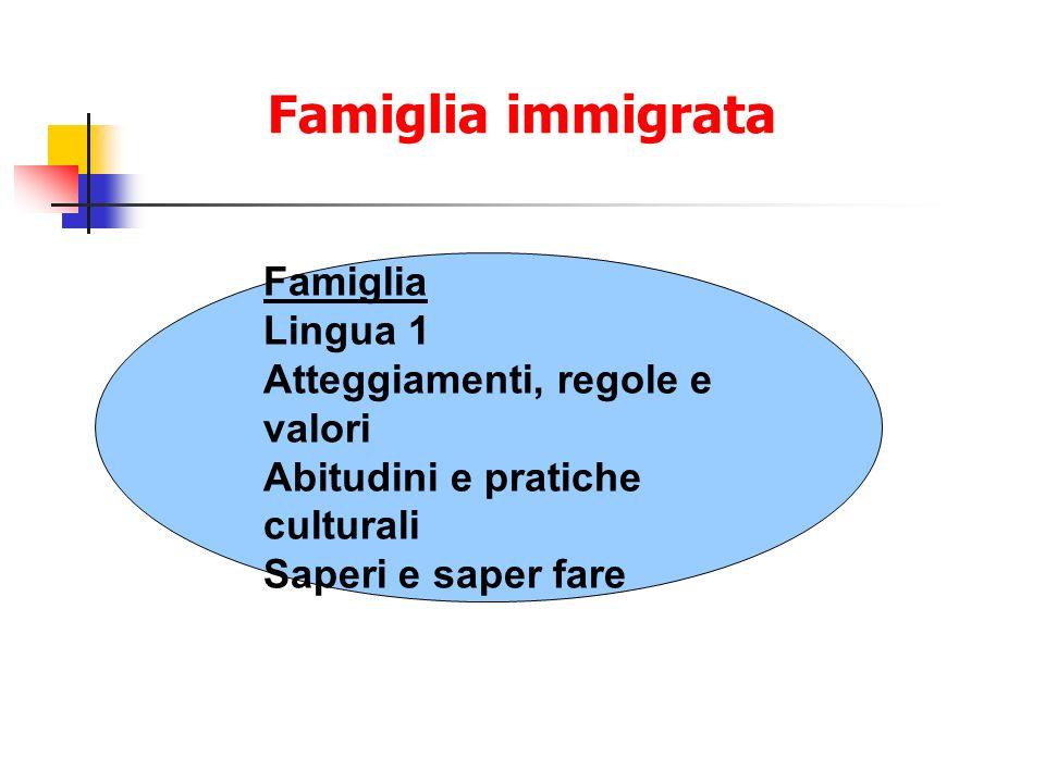 Famiglia immigrata Famiglia Lingua 1 Atteggiamenti, regole e valori Abitudini e pratiche culturali Saperi e saper fare