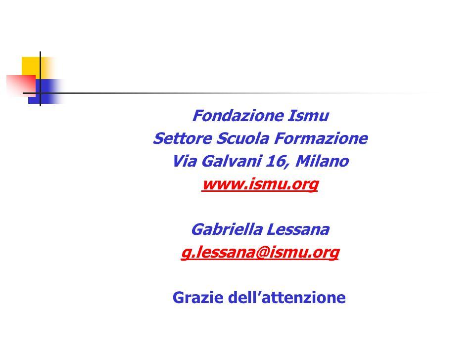 Fondazione Ismu Settore Scuola Formazione Via Galvani 16, Milano www.ismu.org Gabriella Lessana g.lessana@ismu.org Grazie dellattenzione