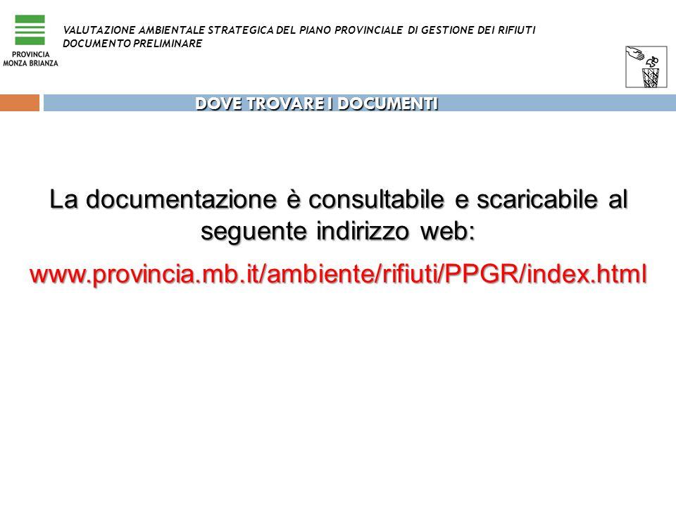 DOVE TROVARE I DOCUMENTI La documentazione è consultabile e scaricabile al seguente indirizzo web: www.provincia.mb.it/ambiente/rifiuti/PPGR/index.htm