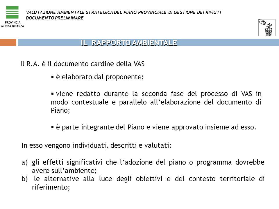 IL RAPPORTO AMBIENTALE Il R.A. è il documento cardine della VAS In esso vengono individuati, descritti e valutati: a) a)gli effetti significativi che