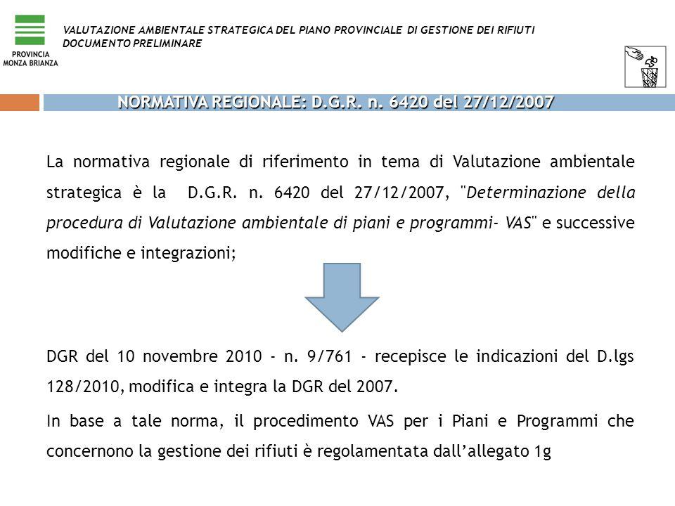 NORMATIVA REGIONALE: D.G.R. n. 6420 del 27/12/2007 La normativa regionale di riferimento in tema di Valutazione ambientale strategica è la D.G.R. n. 6