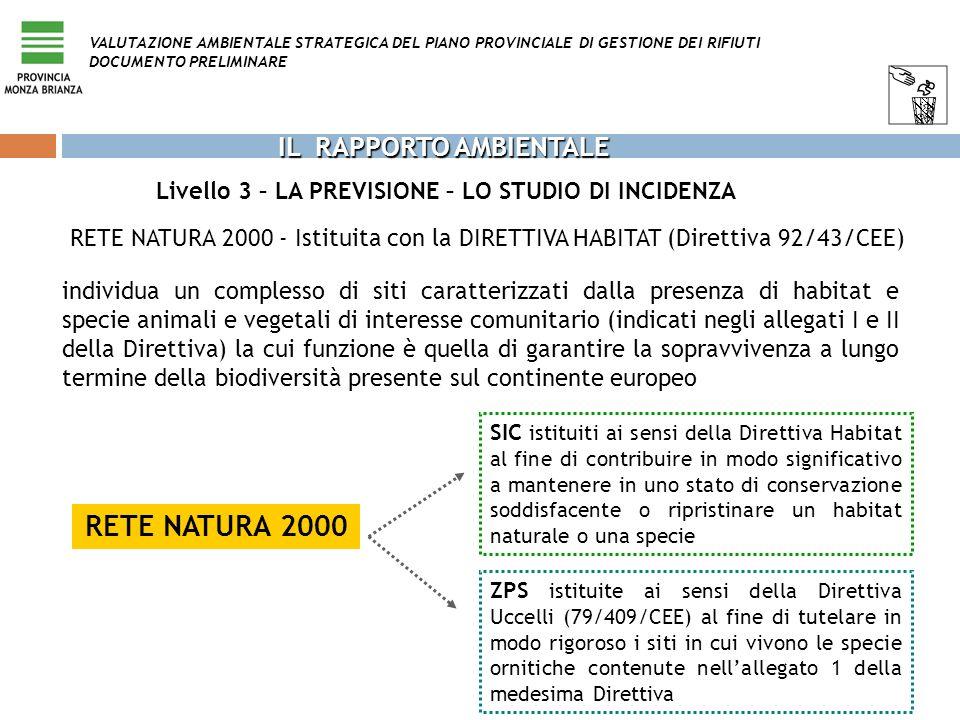 Livello 3 – LA PREVISIONE – LO STUDIO DI INCIDENZA VALUTAZIONE AMBIENTALE STRATEGICA DEL PIANO PROVINCIALE DI GESTIONE DEI RIFIUTI DOCUMENTO PRELIMINA