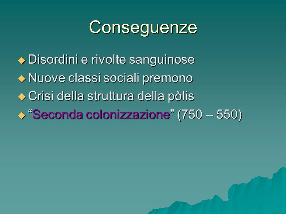 Conseguenze Disordini e rivolte sanguinose Disordini e rivolte sanguinose Nuove classi sociali premono Nuove classi sociali premono Crisi della strutt