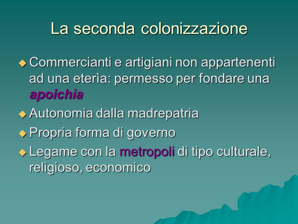 La seconda colonizzazione Commercianti e artigiani non appartenenti ad una eterìa: permesso per fondare una apoichìa Commercianti e artigiani non appa