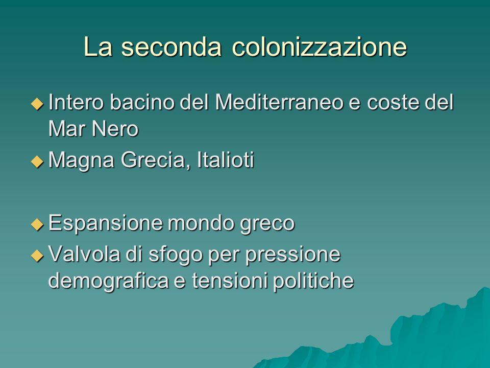 La seconda colonizzazione Intero bacino del Mediterraneo e coste del Mar Nero Intero bacino del Mediterraneo e coste del Mar Nero Magna Grecia, Italio