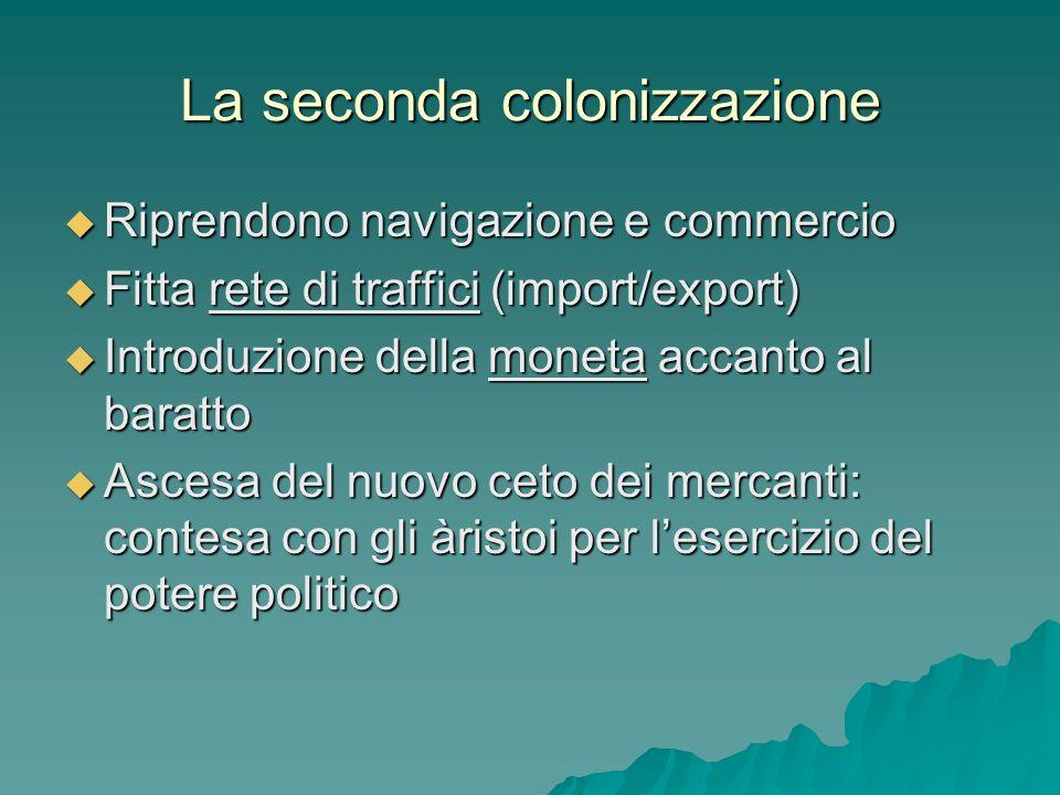 La seconda colonizzazione Riprendono navigazione e commercio Riprendono navigazione e commercio Fitta rete di traffici (import/export) Fitta rete di t