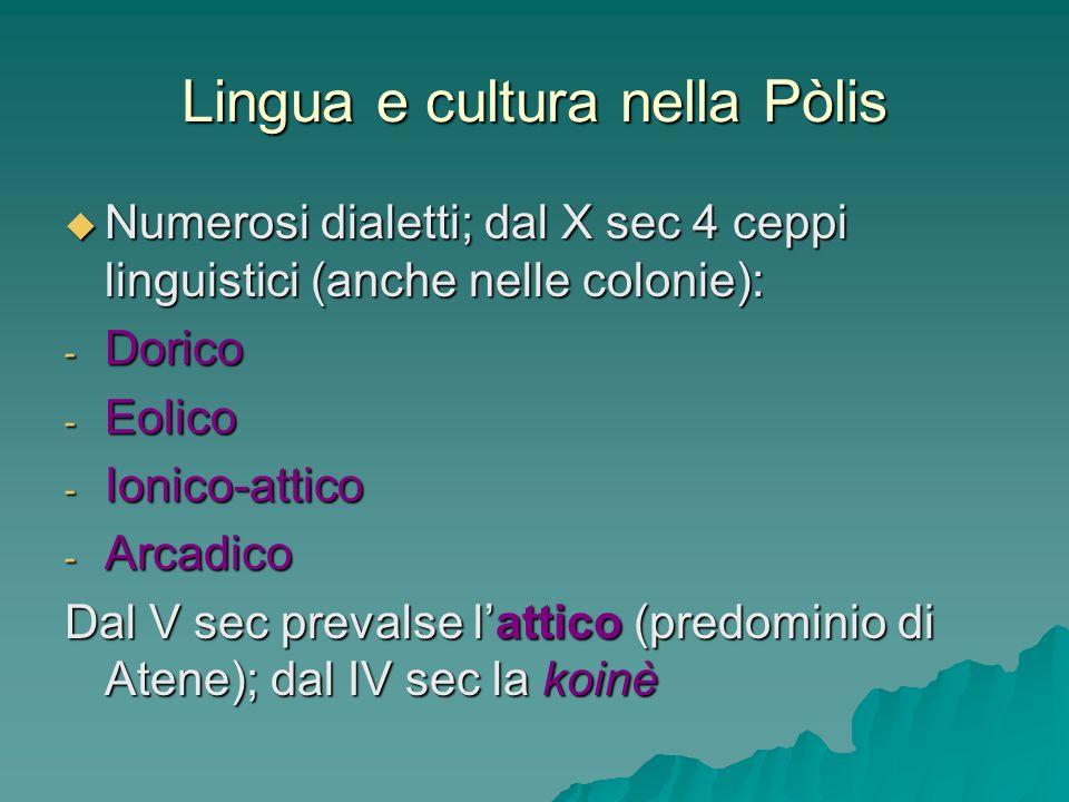 Lingua e cultura nella Pòlis Numerosi dialetti; dal X sec 4 ceppi linguistici (anche nelle colonie): Numerosi dialetti; dal X sec 4 ceppi linguistici