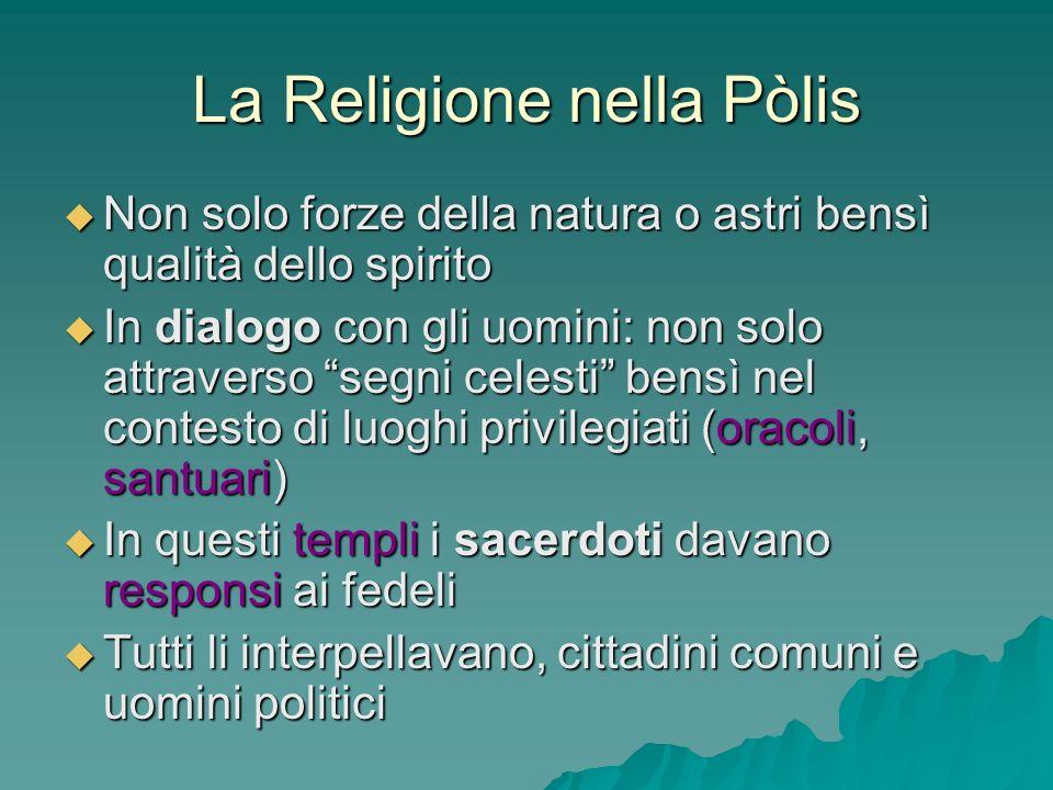 La Religione nella Pòlis Non solo forze della natura o astri bensì qualità dello spirito Non solo forze della natura o astri bensì qualità dello spiri