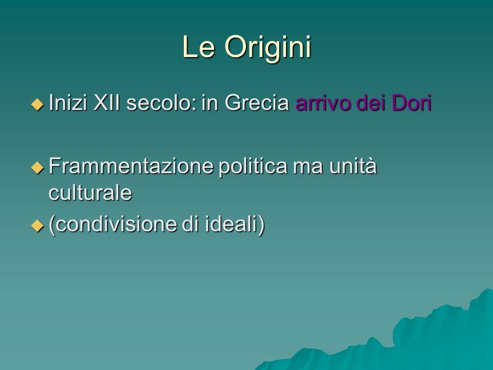 Le Origini Inizi XII secolo: in Grecia arrivo dei Dori Inizi XII secolo: in Grecia arrivo dei Dori Frammentazione politica ma unità culturale Framment