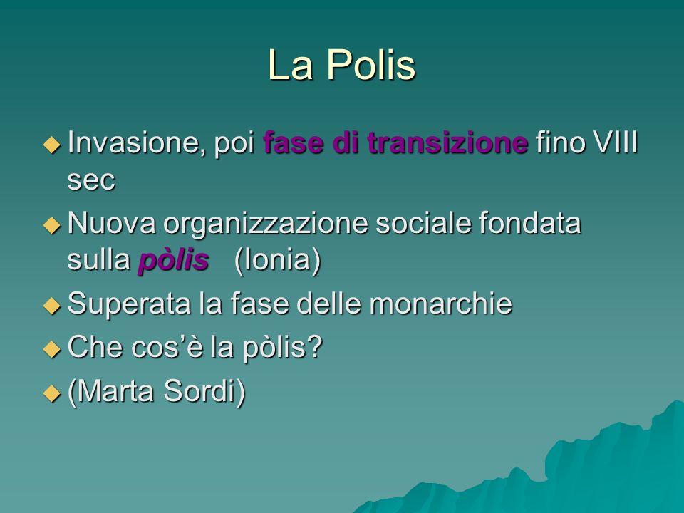 La Polis Invasione, poi fase di transizione fino VIII sec Invasione, poi fase di transizione fino VIII sec Nuova organizzazione sociale fondata sulla