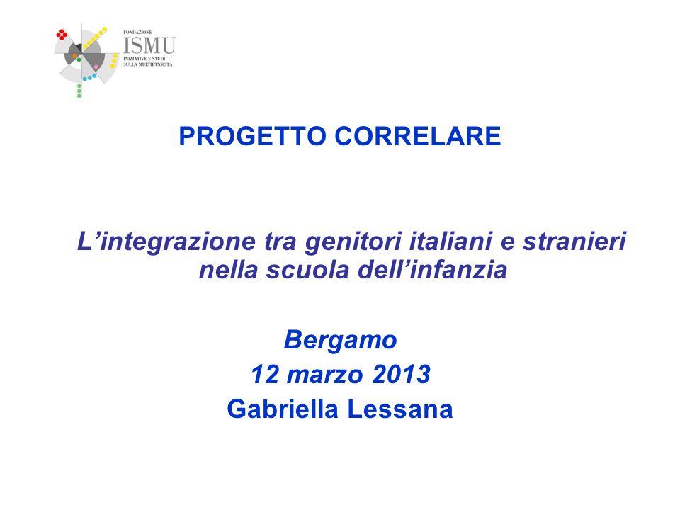 PROGETTO CORRELARE Lintegrazione tra genitori italiani e stranieri nella scuola dellinfanzia Bergamo 12 marzo 2013 Gabriella Lessana