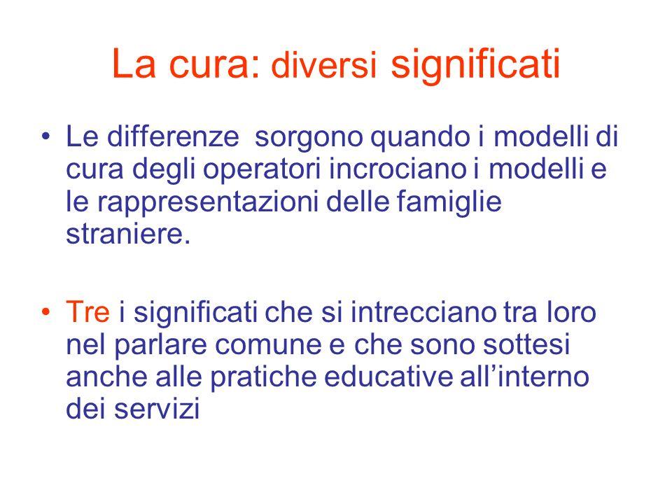 La cura: diversi significati Le differenze sorgono quando i modelli di cura degli operatori incrociano i modelli e le rappresentazioni delle famiglie