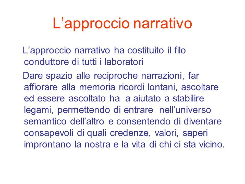 Lapproccio narrativo Lapproccio narrativo ha costituito il filo conduttore di tutti i laboratori Dare spazio alle reciproche narrazioni, far affiorare