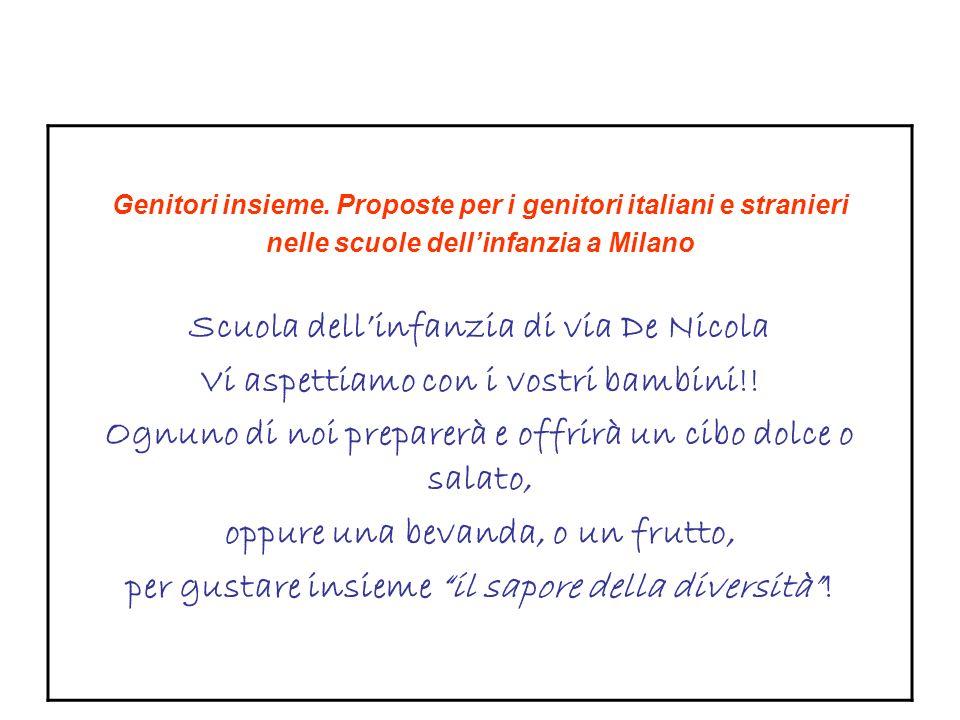 Genitori insieme. Proposte per i genitori italiani e stranieri nelle scuole dellinfanzia a Milano Scuola dellinfanzia di via De Nicola Vi aspettiamo c