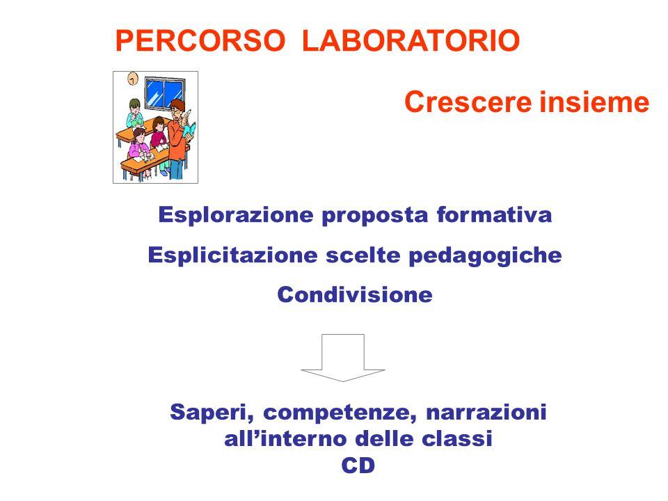 Saperi, competenze, narrazioni allinterno delle classi CD PERCORSO LABORATORIO Esplorazione proposta formativa Esplicitazione scelte pedagogiche Condi