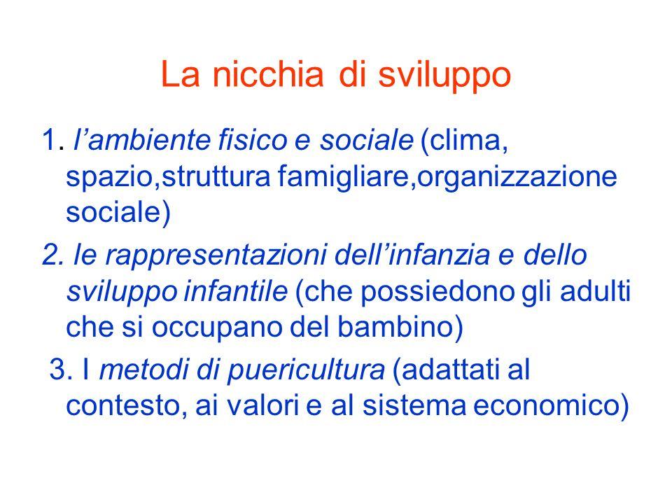 La nicchia di sviluppo 1. lambiente fisico e sociale (clima, spazio,struttura famigliare,organizzazione sociale) 2. le rappresentazioni dellinfanzia e