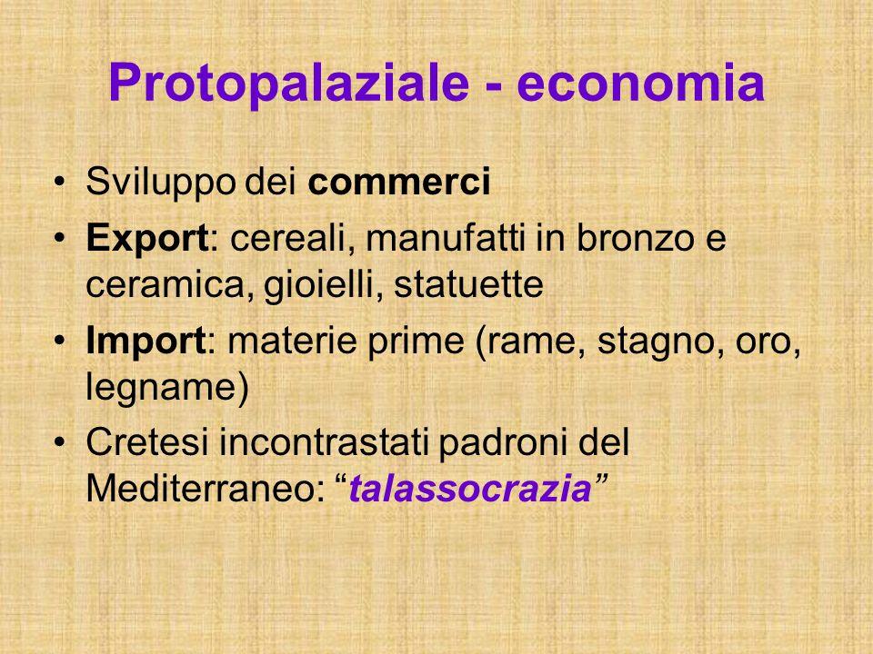 Protopalaziale - economia Sviluppo dei commerci Export: cereali, manufatti in bronzo e ceramica, gioielli, statuette Import: materie prime (rame, stag