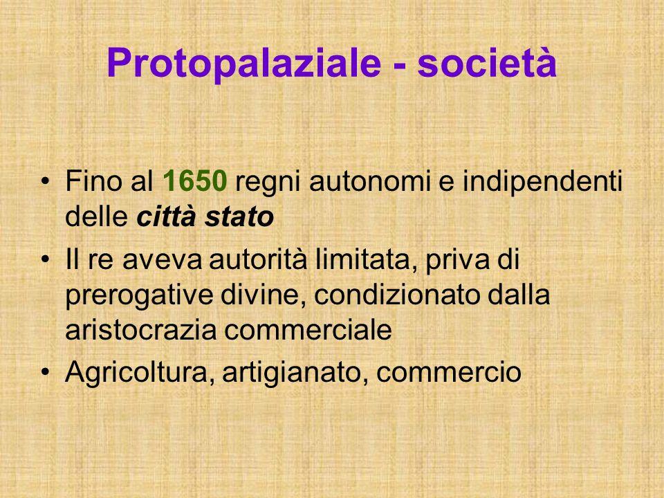 Protopalaziale - società Fino al 1650 regni autonomi e indipendenti delle città stato Il re aveva autorità limitata, priva di prerogative divine, cond