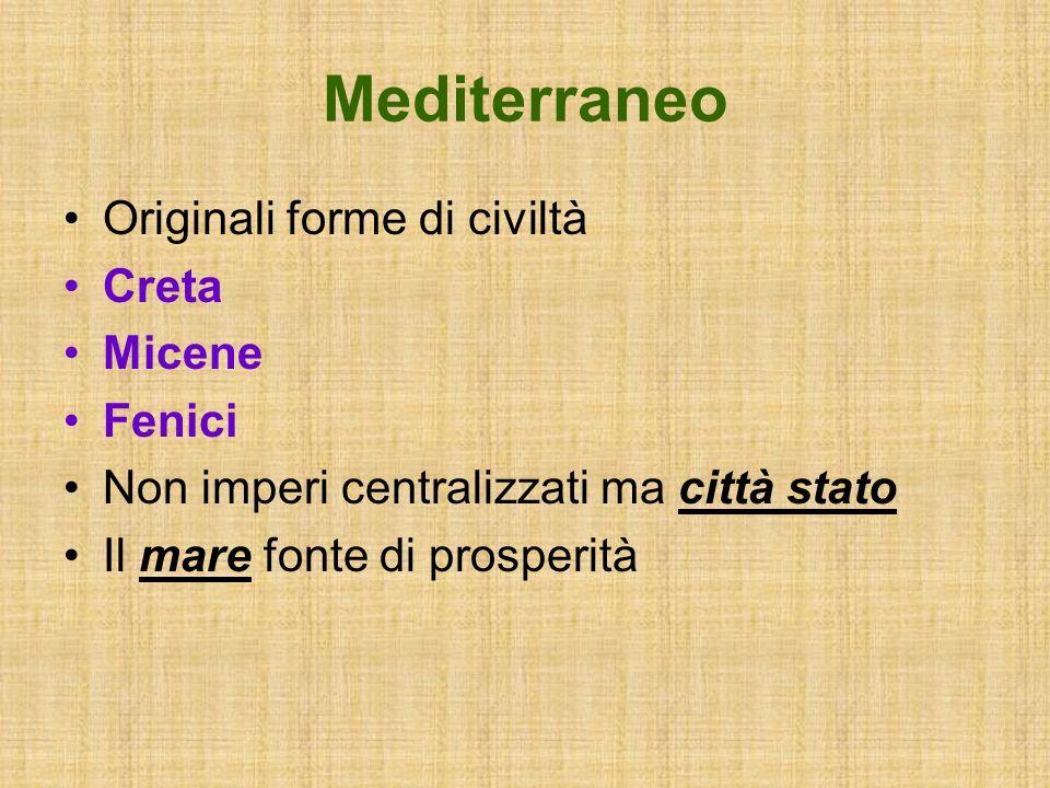 Mediterraneo Navigazione Commercio Uso della moneta Fondazione di colonie Creazione di scali e fondachi