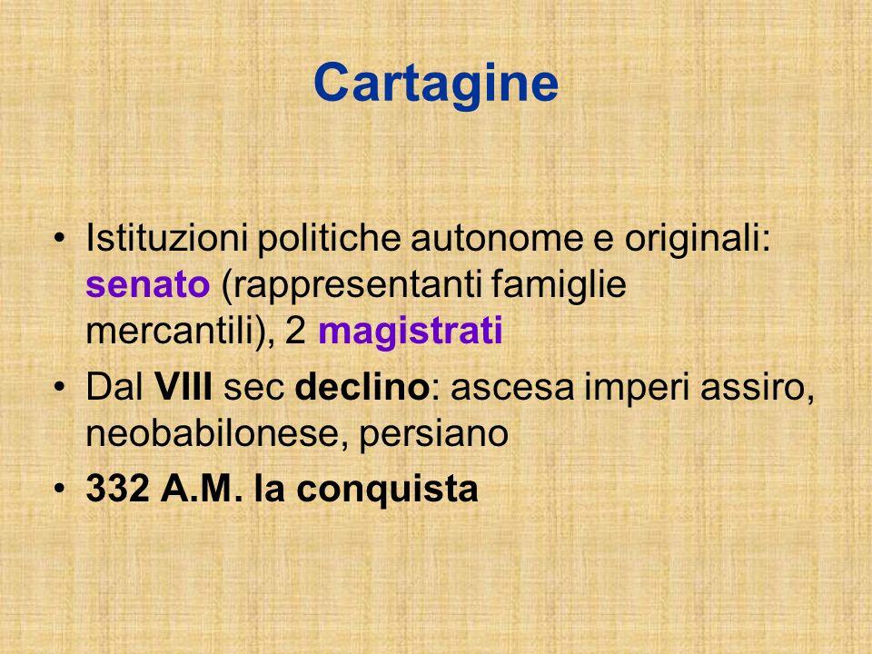 Cartagine Istituzioni politiche autonome e originali: senato (rappresentanti famiglie mercantili), 2 magistrati Dal VIII sec declino: ascesa imperi as