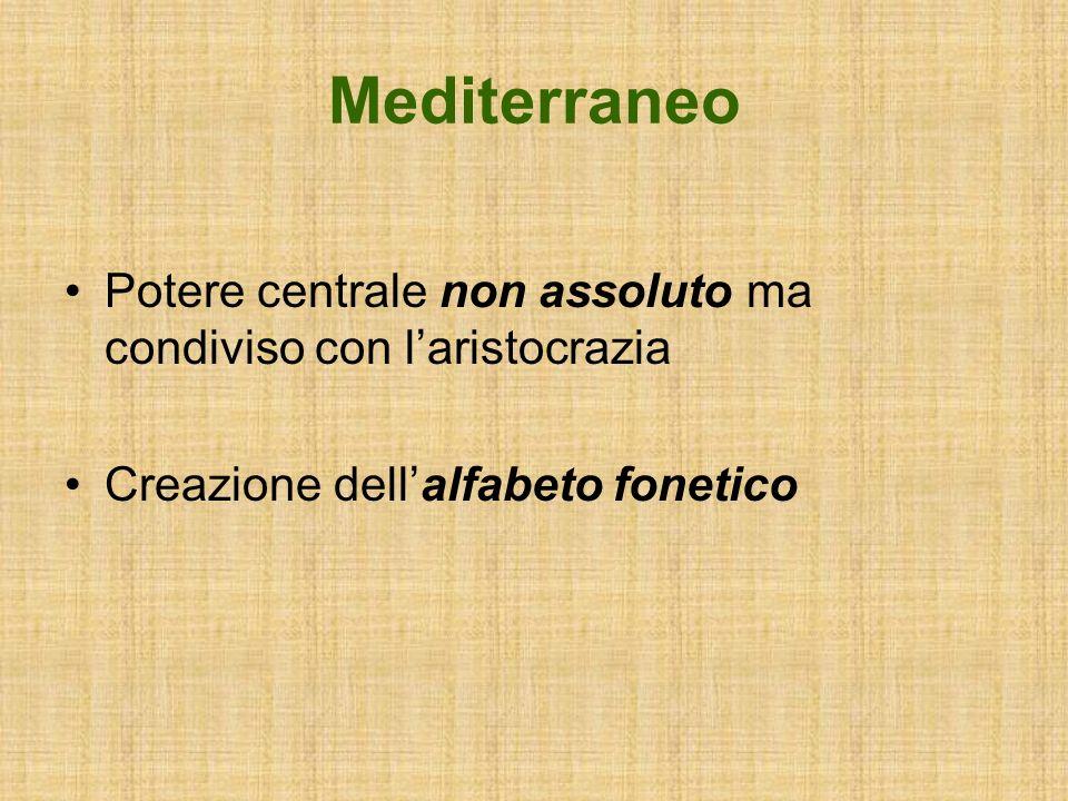 Mediterraneo Potere centrale non assoluto ma condiviso con laristocrazia Creazione dellalfabeto fonetico